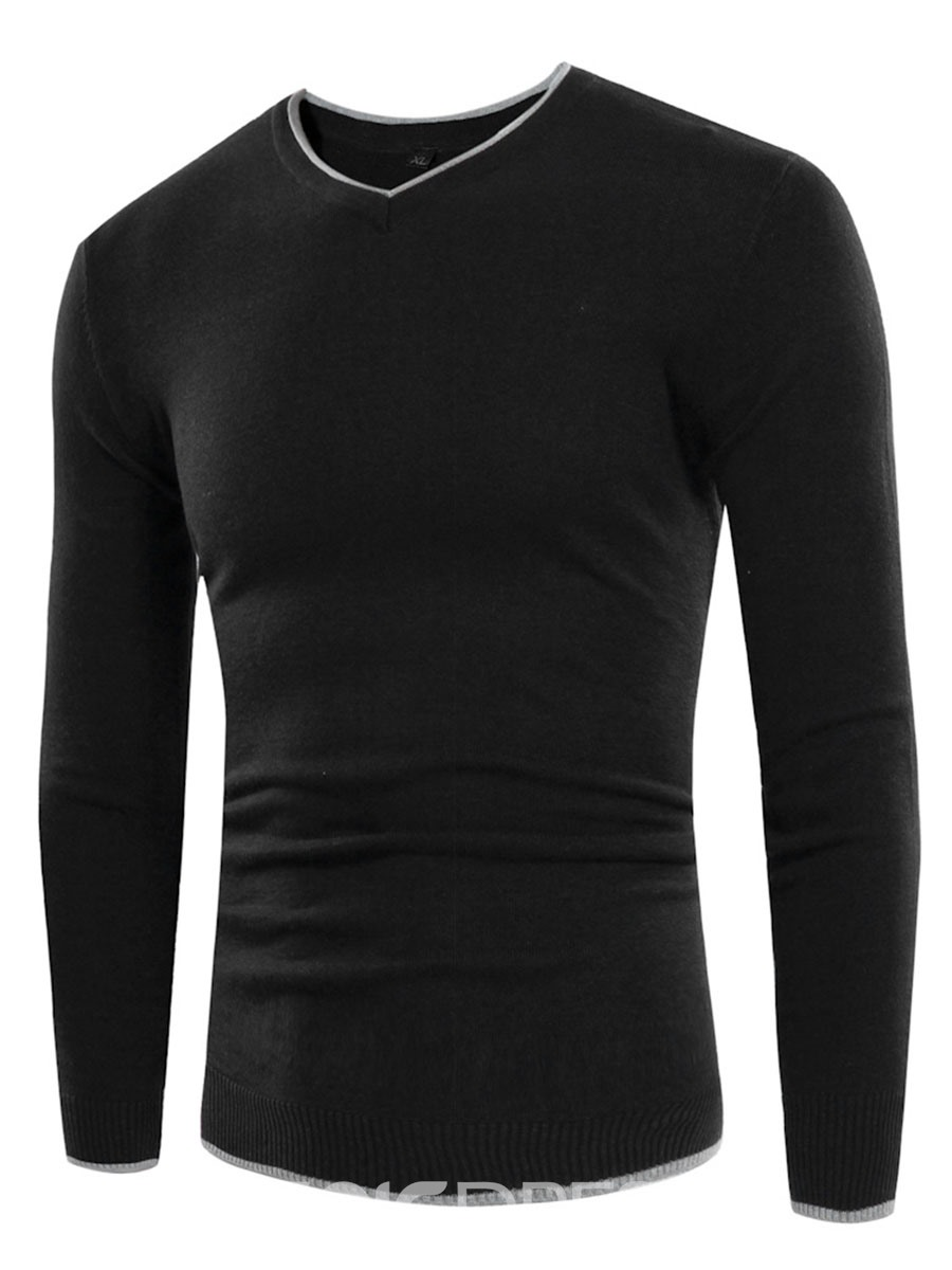 Ericdress Plain V-Neck Slim Simple Casual Men's Sweater
