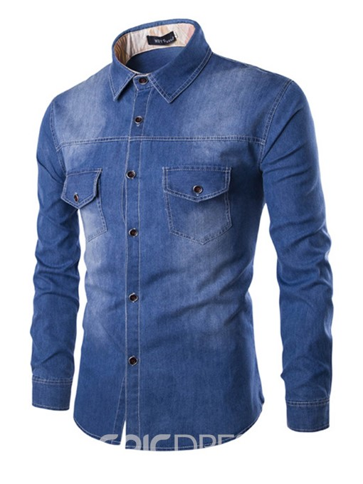 Ericdress Pocket Patched Denim Men's Shirt