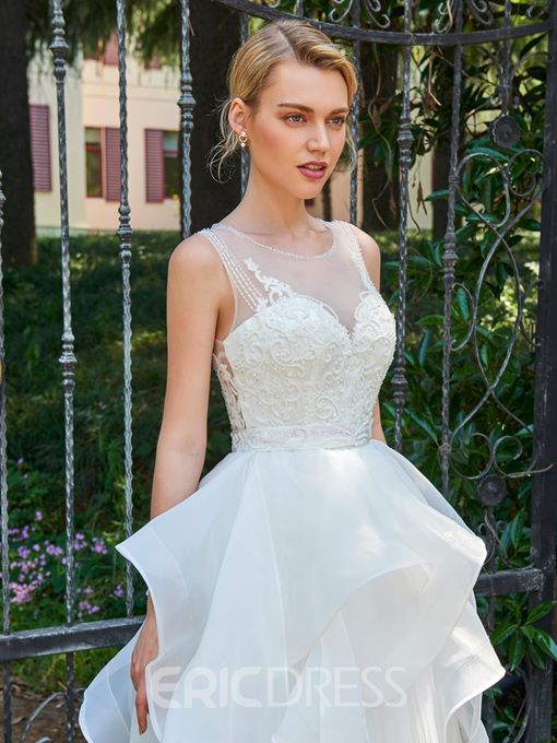 Ericdress Scoop A Line Beaded Backless Tulle Wedding Dress
