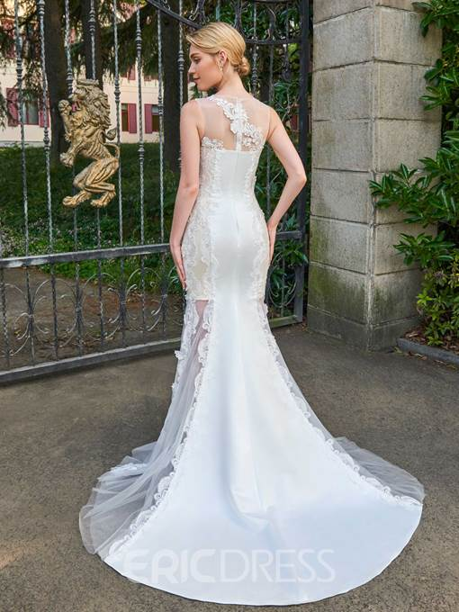 Ericdress Mermaid Appliques Matte Satin Wedding Dress