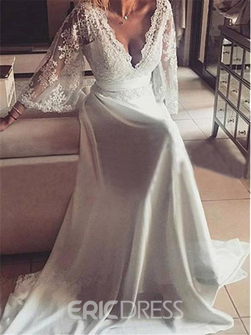 Ericdress Deep V Neck Appliques Beach Wedding Dress with Sleeves
