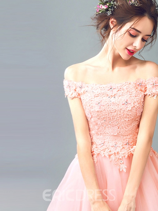 Ericdress A Line Off The Shoulder Applique Short Homecoming Dress