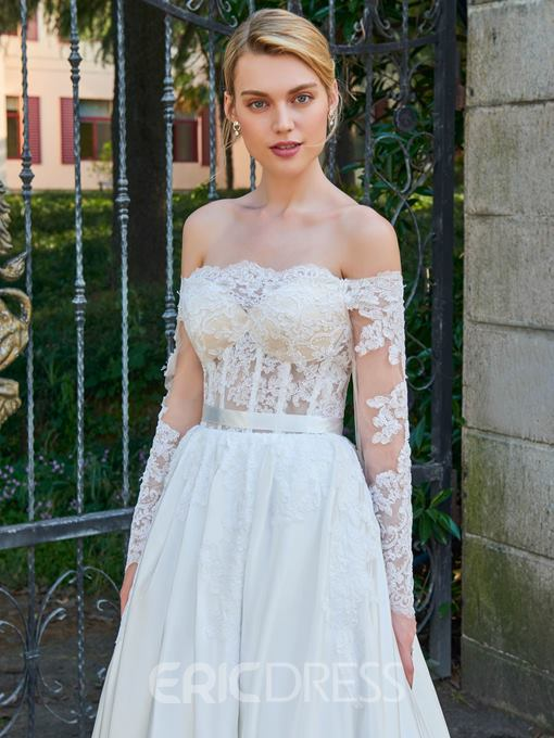 Ericdress Off The Shoulder Long Sleeves A Line Wedding Dress