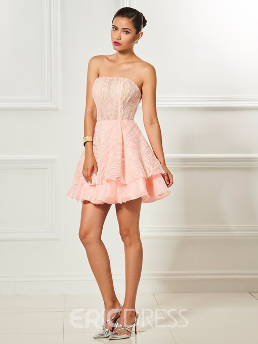 Ericdress Strapless Lace Mini Short Cocktail Dress