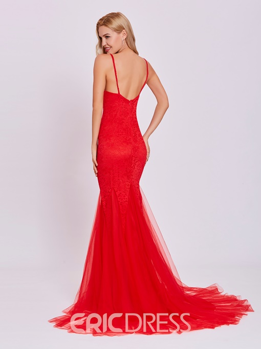 Ericdress Backless Lace Mermaid Evening Dress