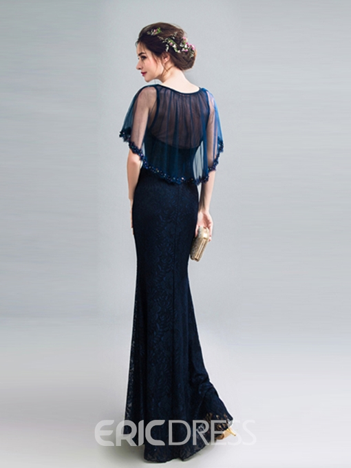 Ericdress Sheath V Neck Floor Length Long Lace Evening Dress With Beadings