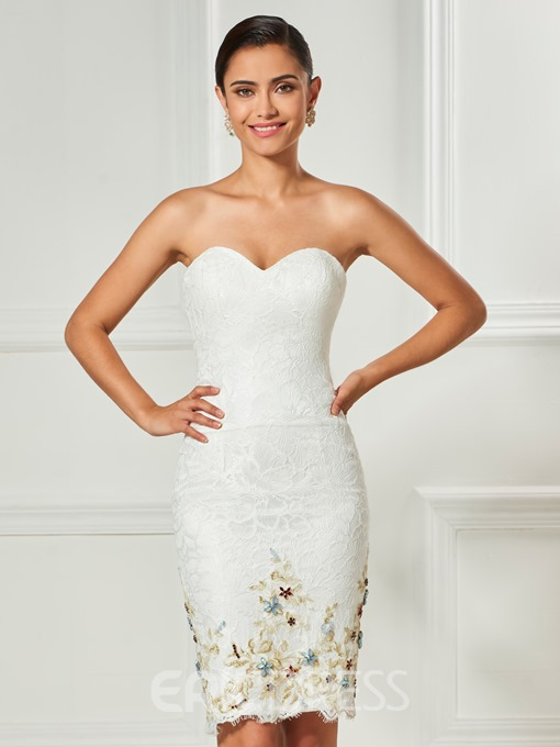 Ericdress Sheath Lace Knee Length Cocktail Dress With Detachable Cape