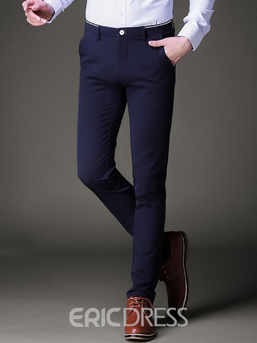 Ericdress Plain Stretchable Slim Men's Pencil Pants