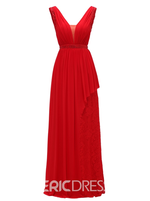 Ericdress V Neck Backless Beaded Lace A Line Evening Dress