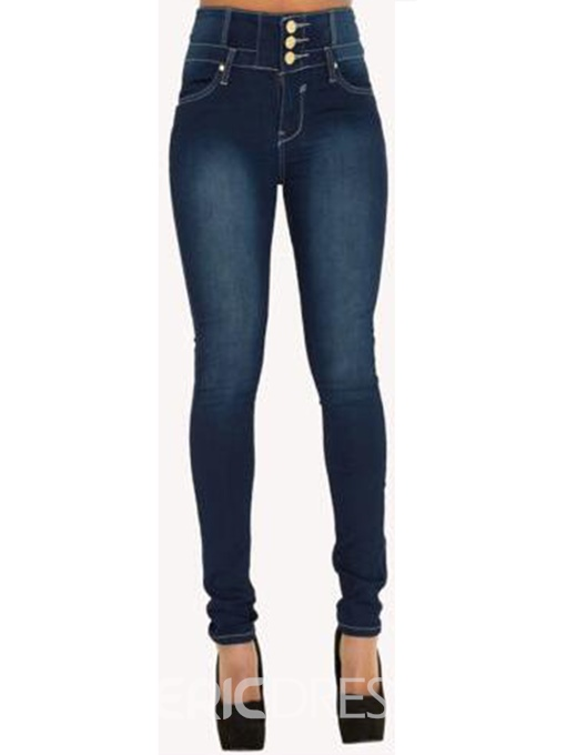 Ericdress High-Waist Button Jeans
