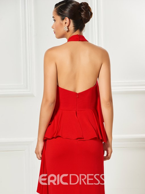 Ericdress Sheath Halter Backless Knee Length Cocktail Dress