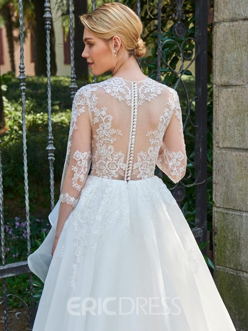 Ericdress Sexy Jewel Long Sleeves Appliques A Line Wedding Dress