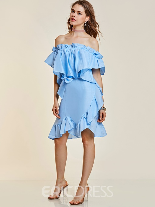 Ericdress Slash Neck Falbala Patchwork Women's Day Dress