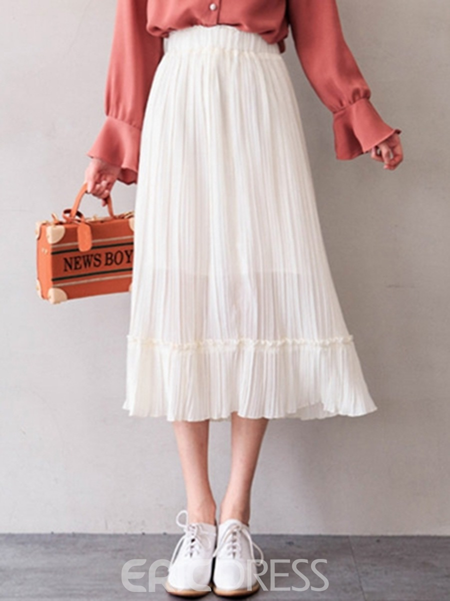 Ericdress Chiffon Pleated Usual Skirts