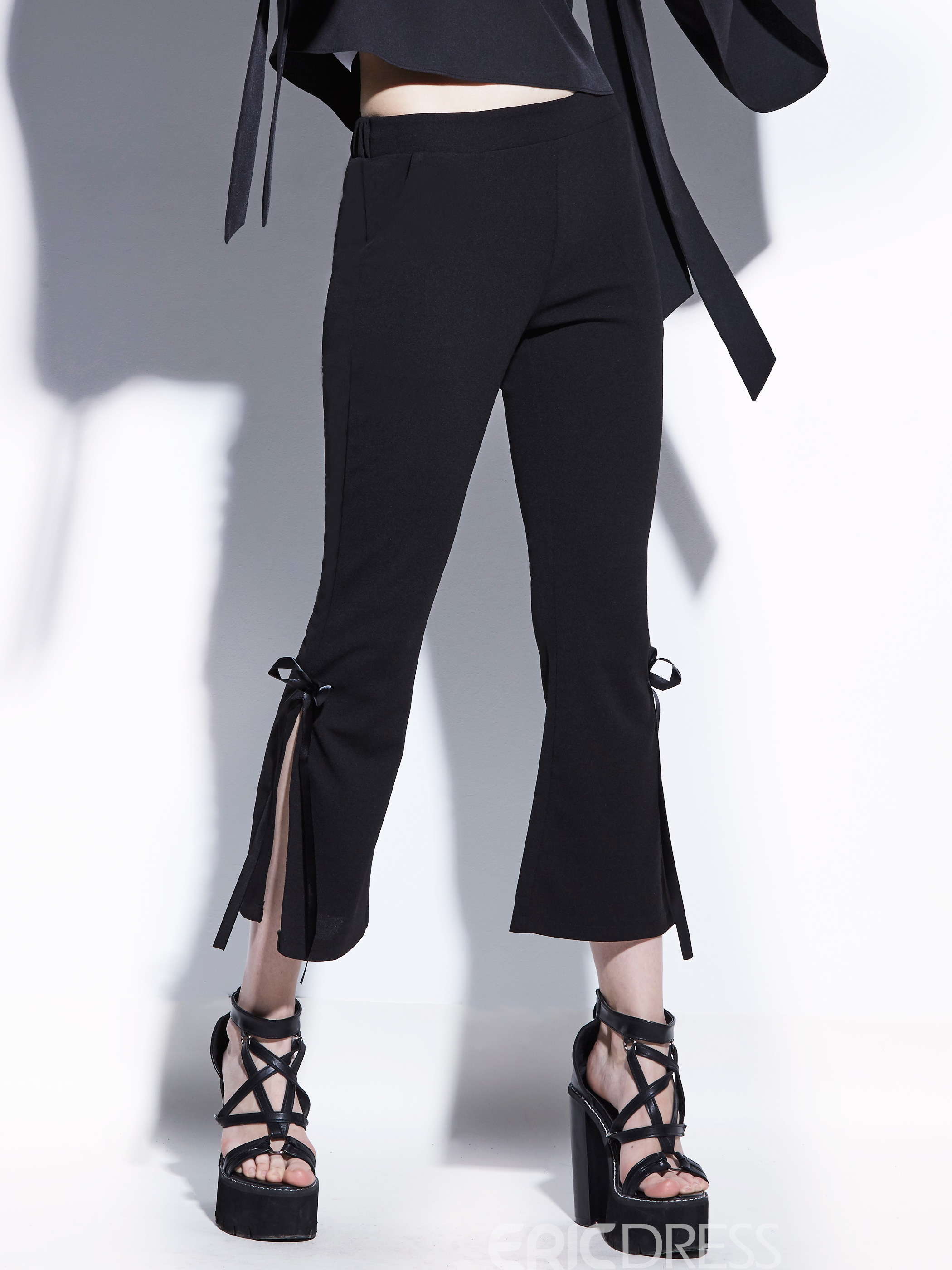Slim Ankle Length Bowknot Women's Bellbottoms
