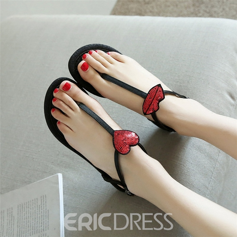 Ericdress Color Block Sequin Flat Sandals