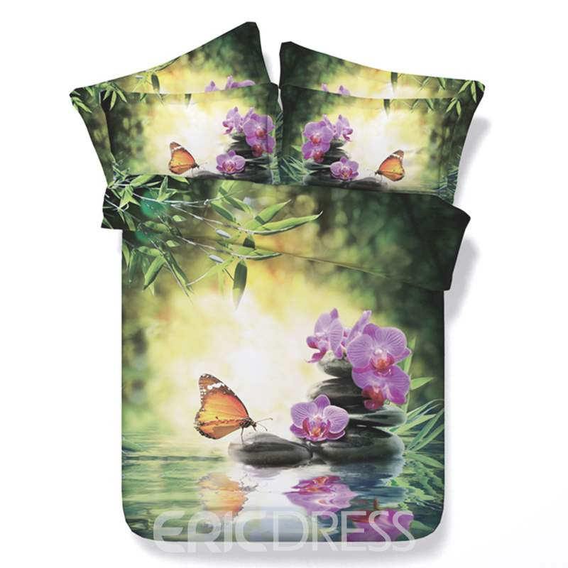 Vivilinen 3D Butterfly and Orchid Printed Cotton 4-Piece Bedding Sets/Duvet Cover