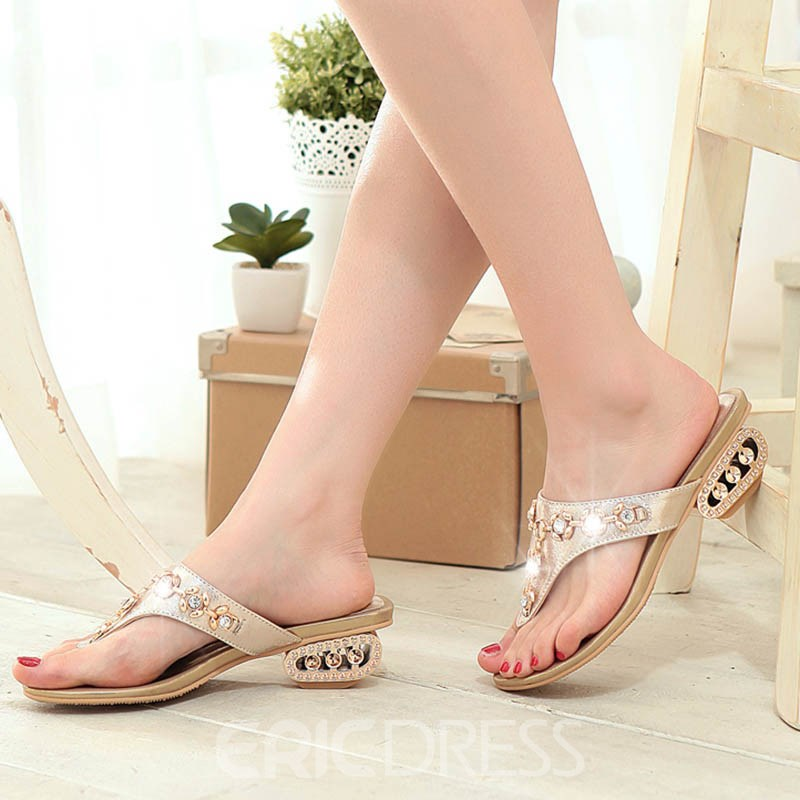 Ericdress Slip-On Rhinestone Plain Mules Shoes