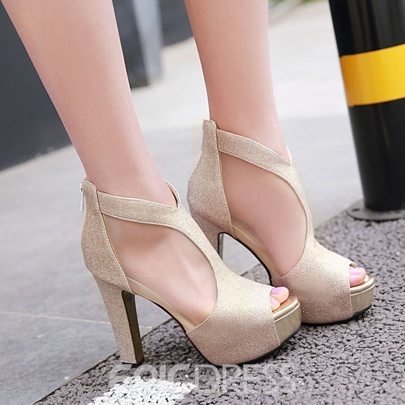 Ericdress Peep Toe Platform Stiletto Pumps