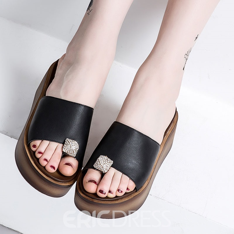 Ericdress Slip-On Toe Ring Platform Mules Shoes