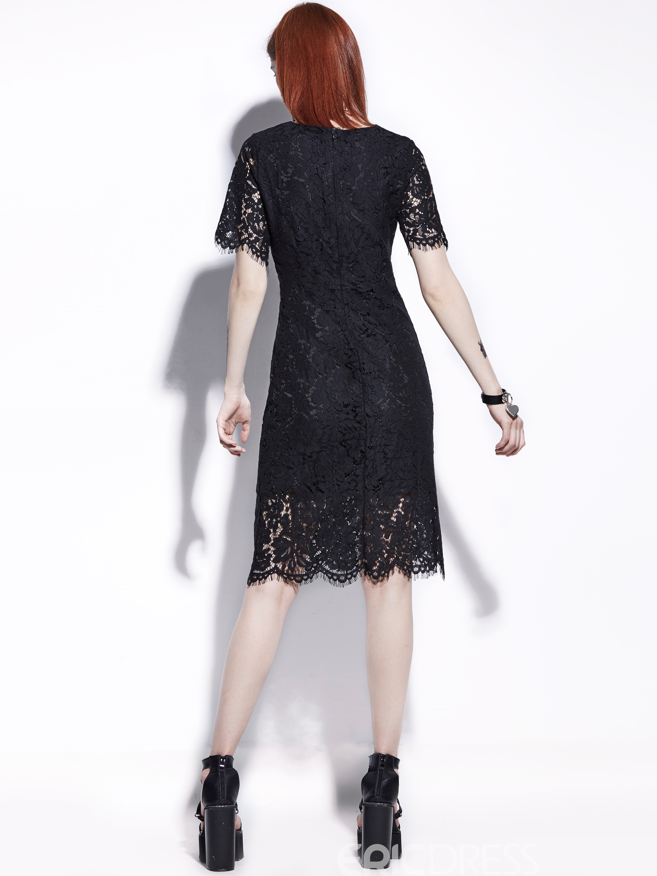 Round Neck Hollow Women's Lace Dress