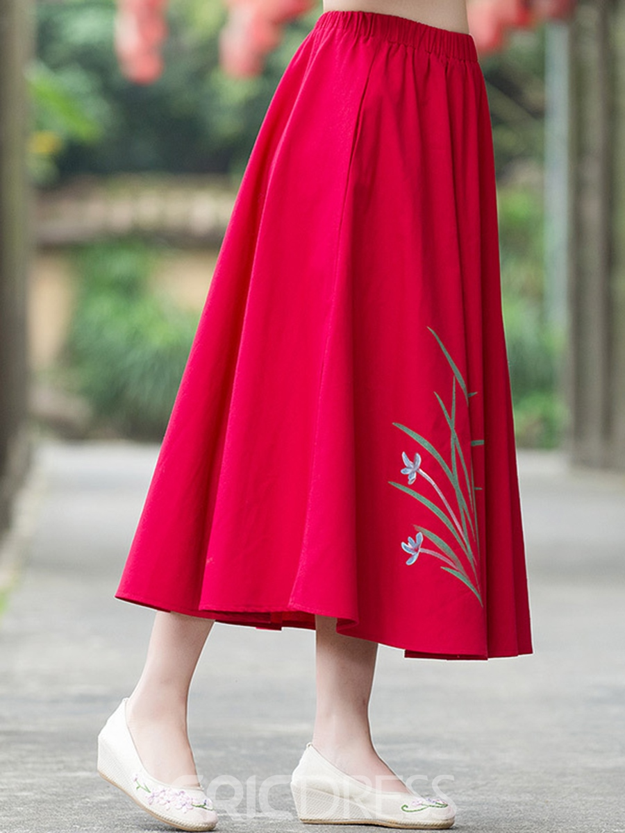 Ericdress Pleated Linen Ankle-Length Usual Skirts