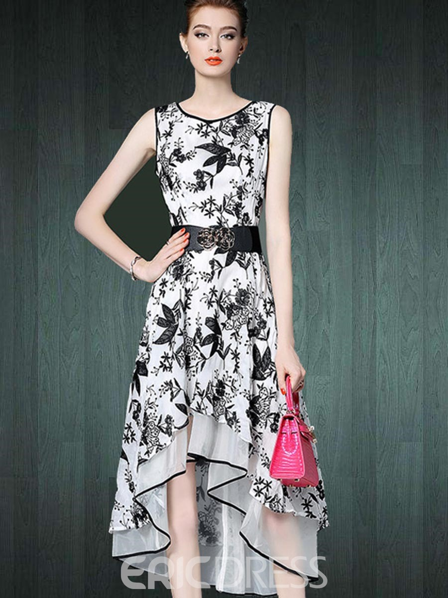Ericdress Embroidery Patchwork Asymmetrical A Line Dress