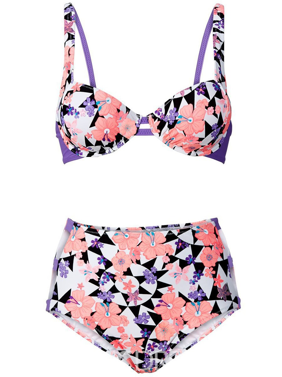 Ericdress Flower Geometric Print High Waist Hollow Tankini Set