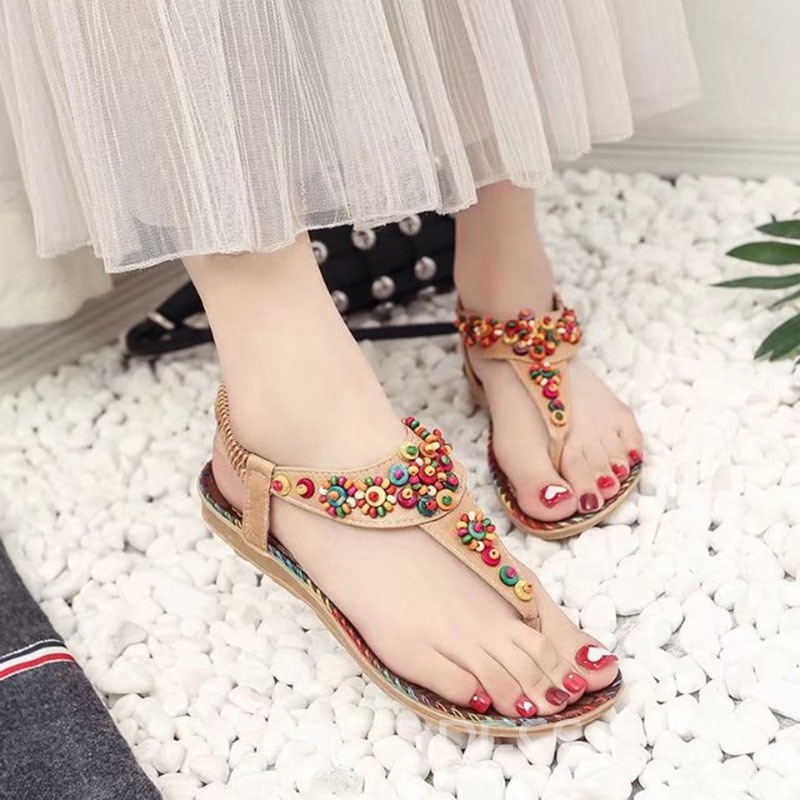 Ericdress Sweet Elastic Band Flat Sandals with Beads