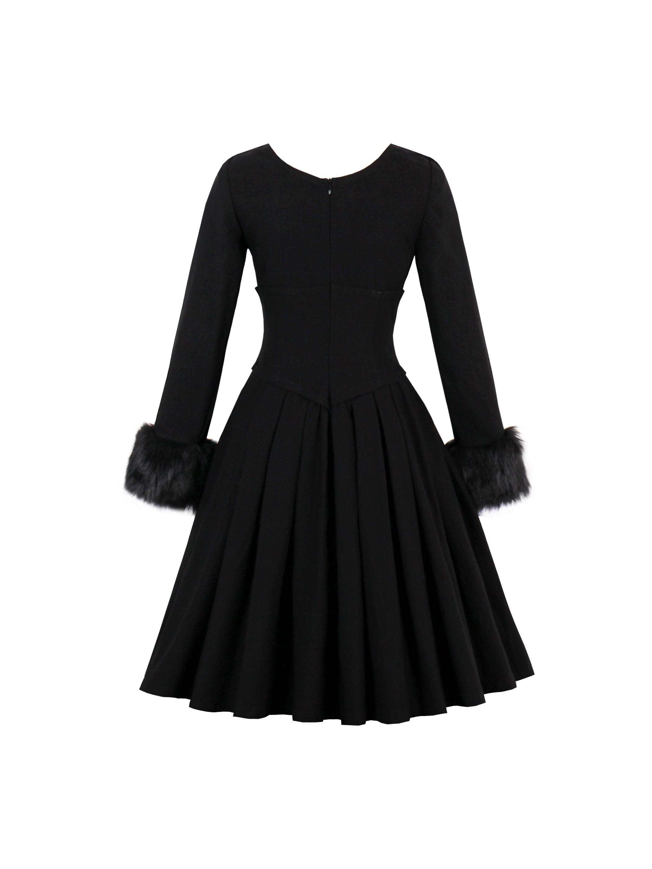 Ericdress Long Sleeves Patchwork Pleated A Line Dress