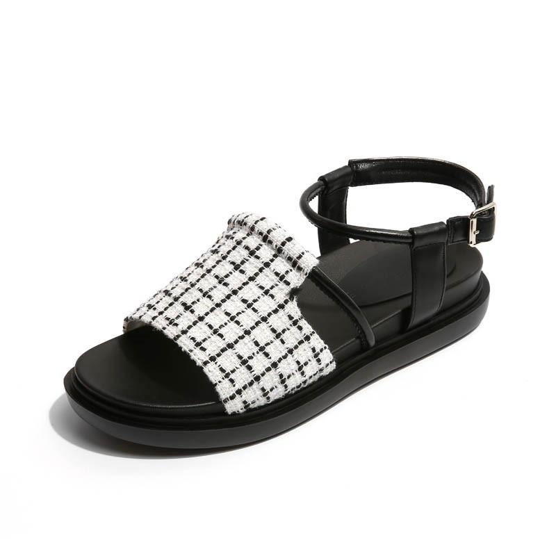 Ericdress Plaid Ankle Strap Platform Flat Sandals