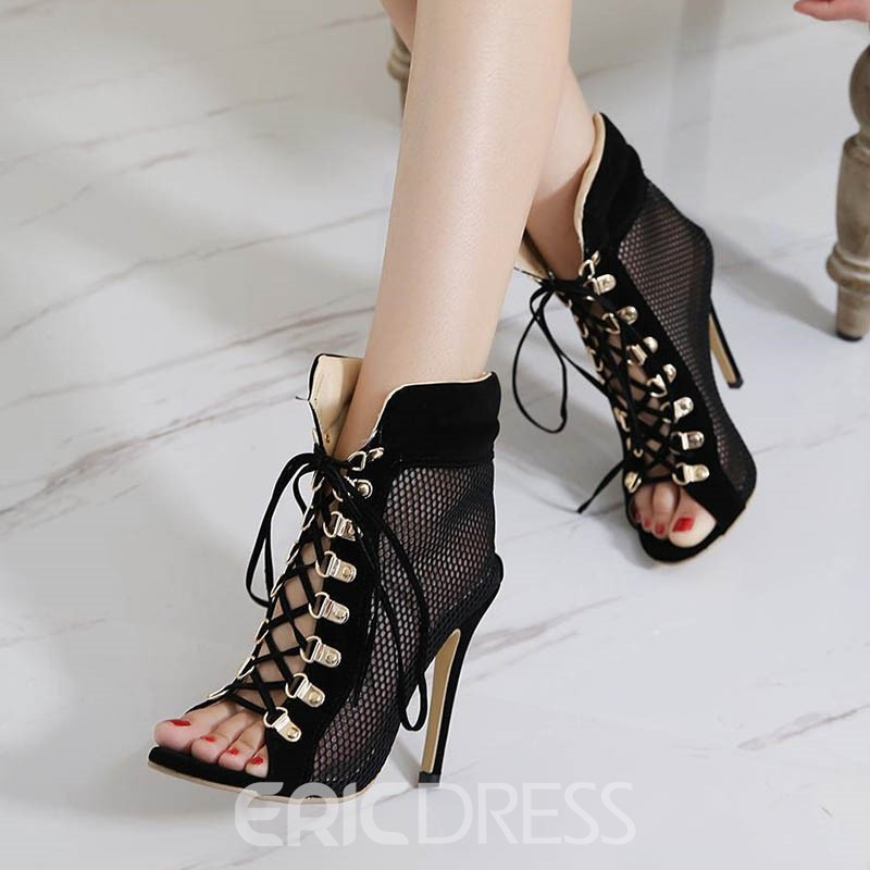 Ericdress Hollow Open Toe Lace-Up Stiletto Sandals