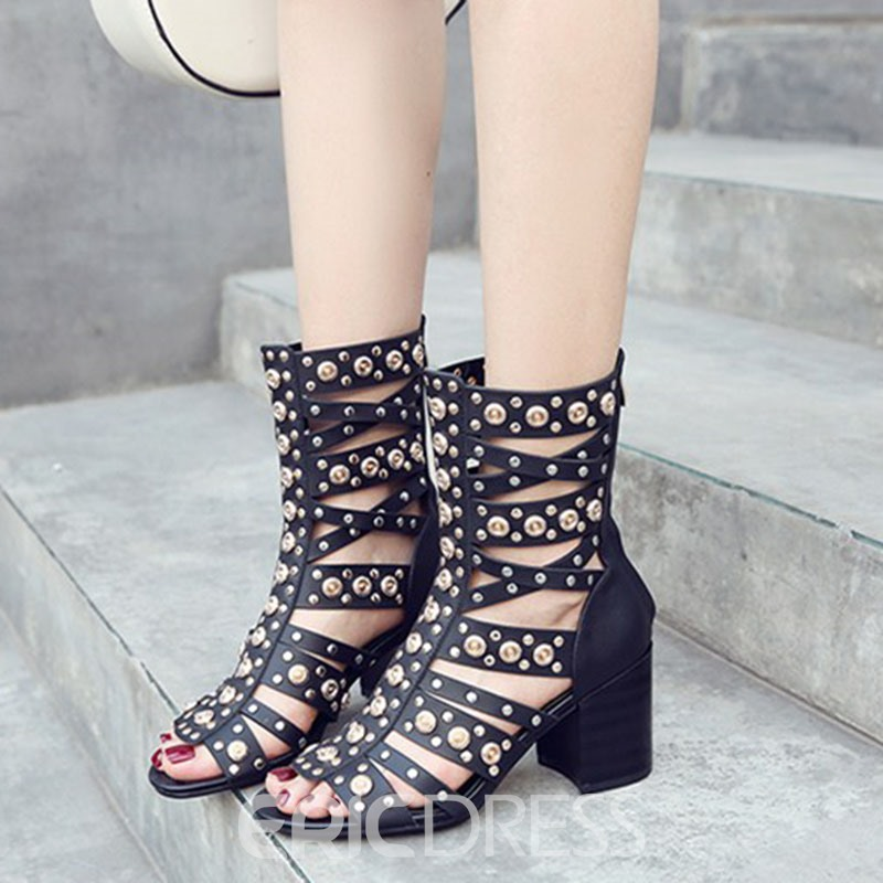 Rivet High Shaft Heel Sandals