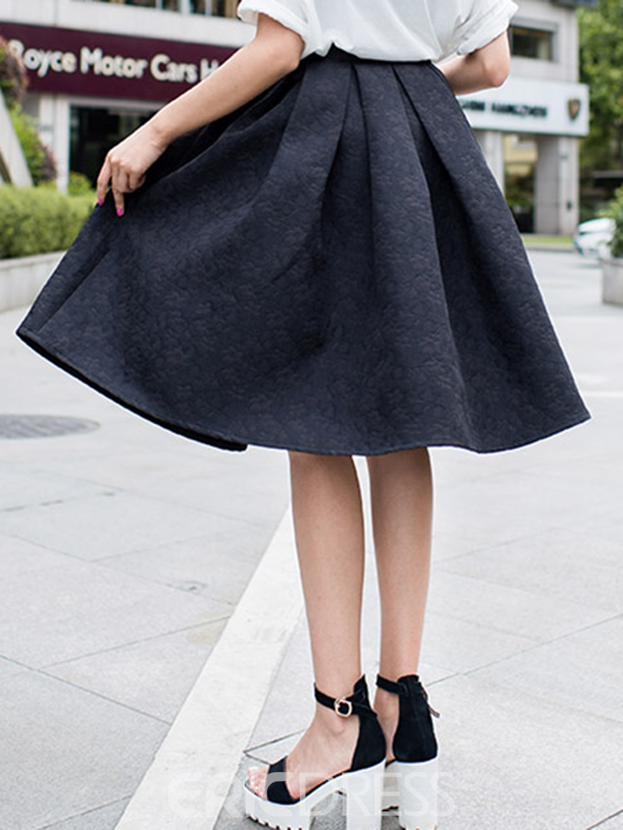 Ericdress Knee-Length Pleated Skirts