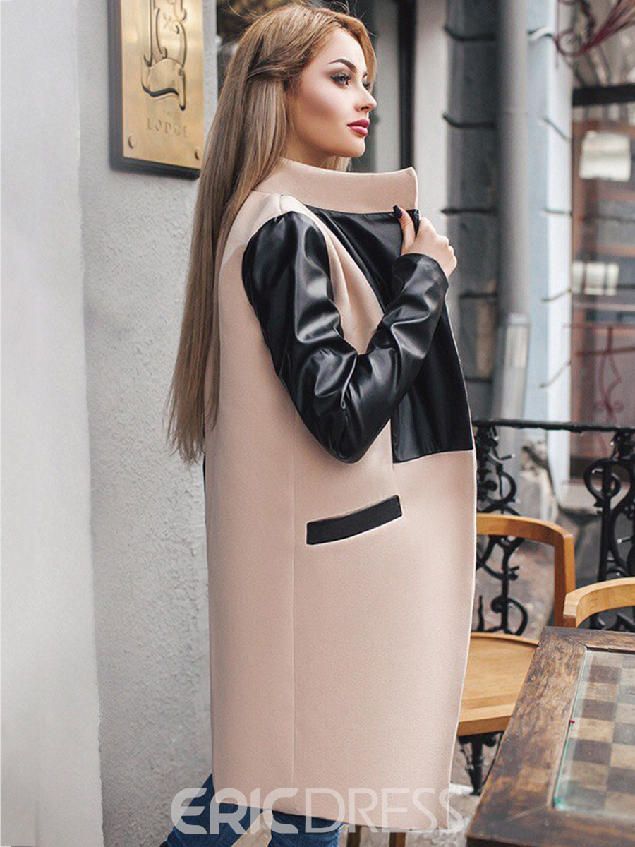 Ericdress Patchwork Mid-Length Pocket Coat