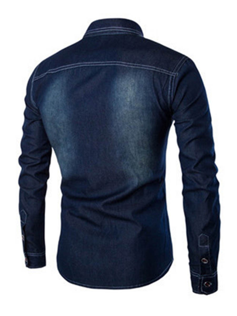 Ericdress Pocket Patched Denim Long Sleeve Men's Shirt