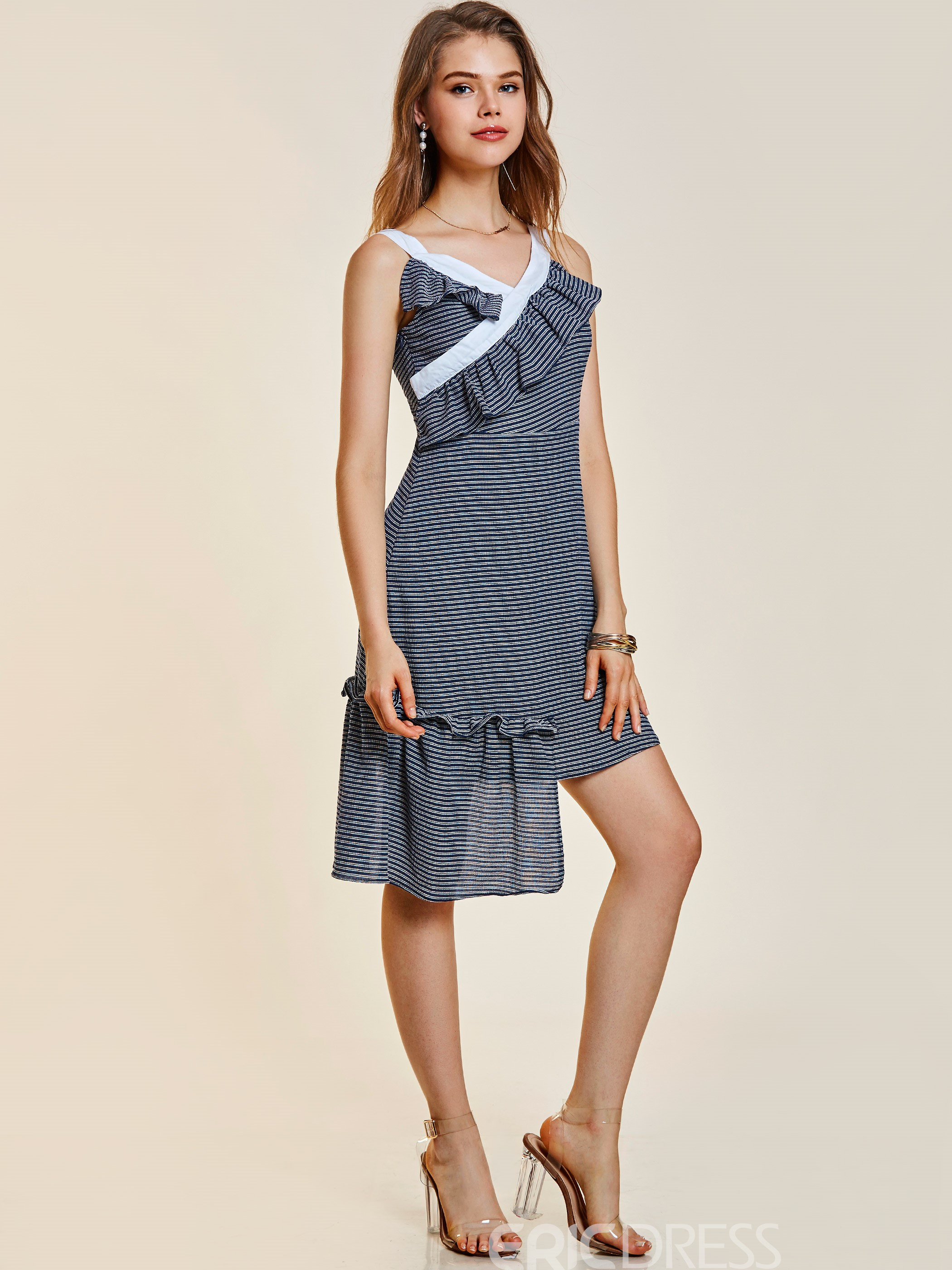 Ericdress Stripe Falbala Patchwork Backless Women's Day Dress