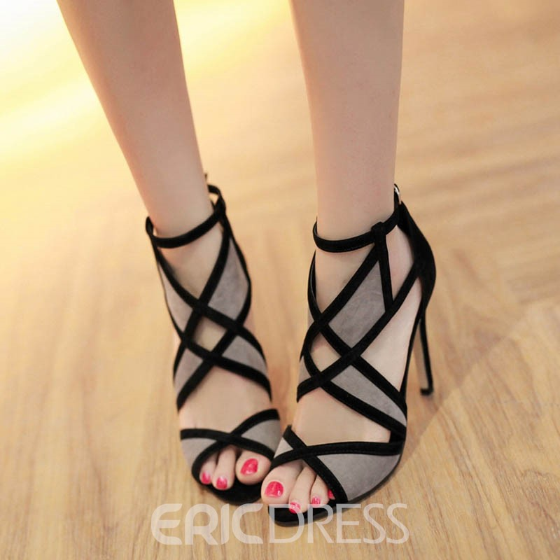 Ericdress Hollow Peep Toe Color Block Stiletto Sandals