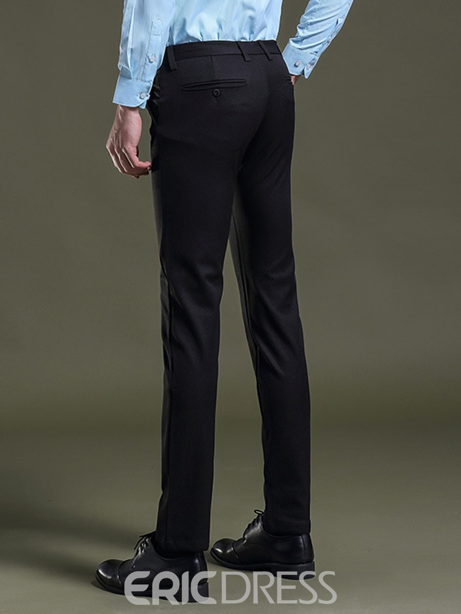 Ericdress Plain Mid-Waist Business Slim Men's Pants