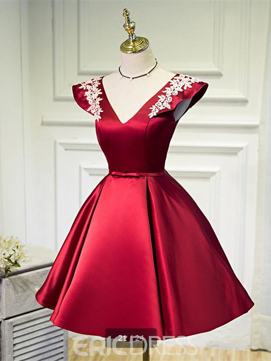 Ericdress A Line V Neck Cap Sleeve Applique Short Homecoming Dress