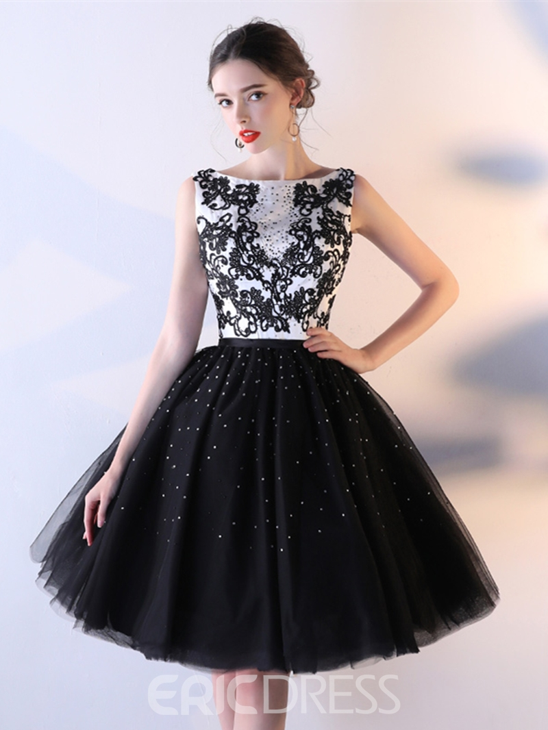 Ericdress A Line Applique Beaded Lace-Up Back Homecoming Dress