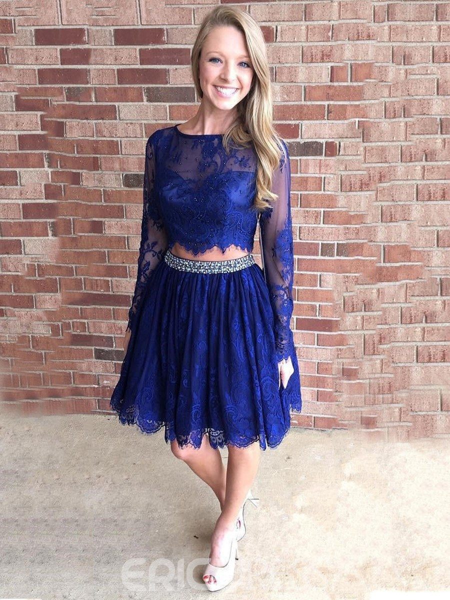 Ericdress Long Sleeve Beaded Two Pieces Lace Homecoming Dress