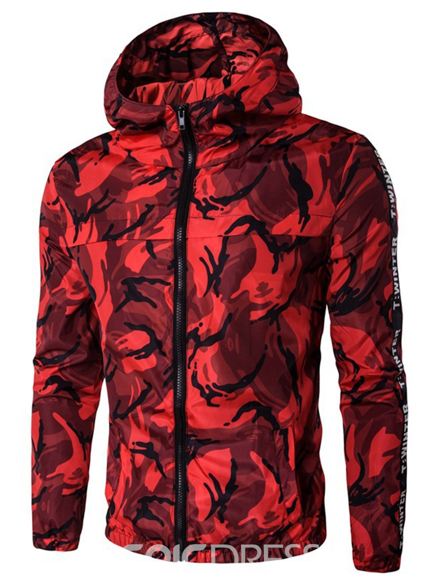 Ericdress Hooded Zipper Camouflage Print Mens Jacket