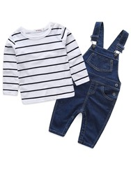 Ericdress Patchwork Print Stripe Hoodies & Rompers Baby Boys Outfits