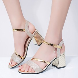 Ericdress Rhinestone Ankle Strap Chunky Sandals