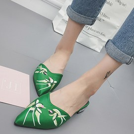 Ericdress Floral Embroidery Slip-On Mules Shoes