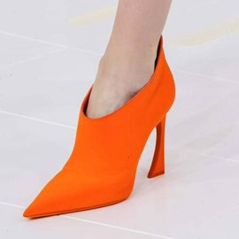 Ericdress Orange Pointed Toe Stiletto Heel Ankle Boots