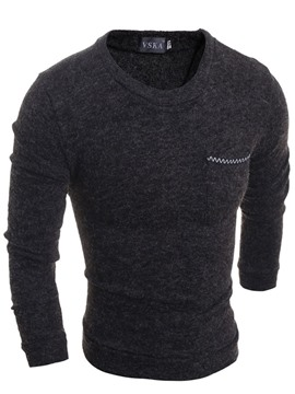 Ericdress Solid Color Slim Fit Men's Plain Sweater