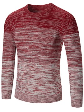 Ericdress Gradient Crew Neck Slim Men's Sweater