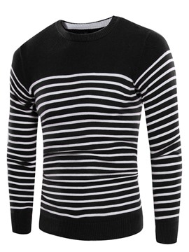 Ericdress Crew Neck Stripe Casual Slim Men's Sweater